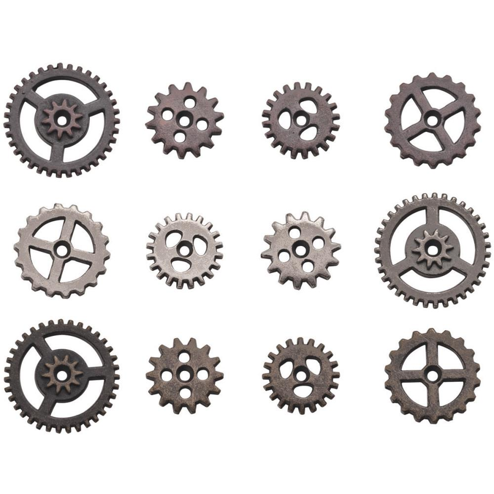 TIM HOLTZ IDEA-OLOGY METAL ANTIQUE NICKLE, COPPER, BRASS MINI GEARS 12 PIECES (IN STOCK)
