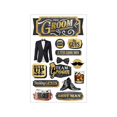 PAPER HOUSE 3D STICKER EMBELLISHMENTS WEDDING GROOM (HAS TO BE ORDERED)