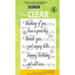 HERO ARTS CLEAR STAMPS MESSAGES WITH FLOURISHES (HAS TO BE ORDERED)
