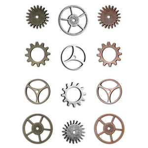 TIM HOLTZ IDEA-OLOGY METAL ANTIQUE NICKLE, COPPER, BRASS SPROCKETS 12 PIECES (HAS TO BE ORDERED)