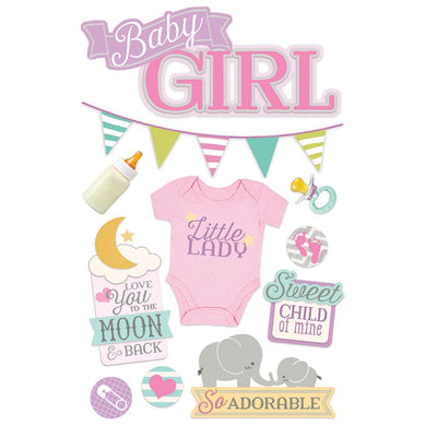PAPER HOUSE 3D STICKER EMBELLISHMENTS BABY GIRL (HAS TO BE ORDERED)