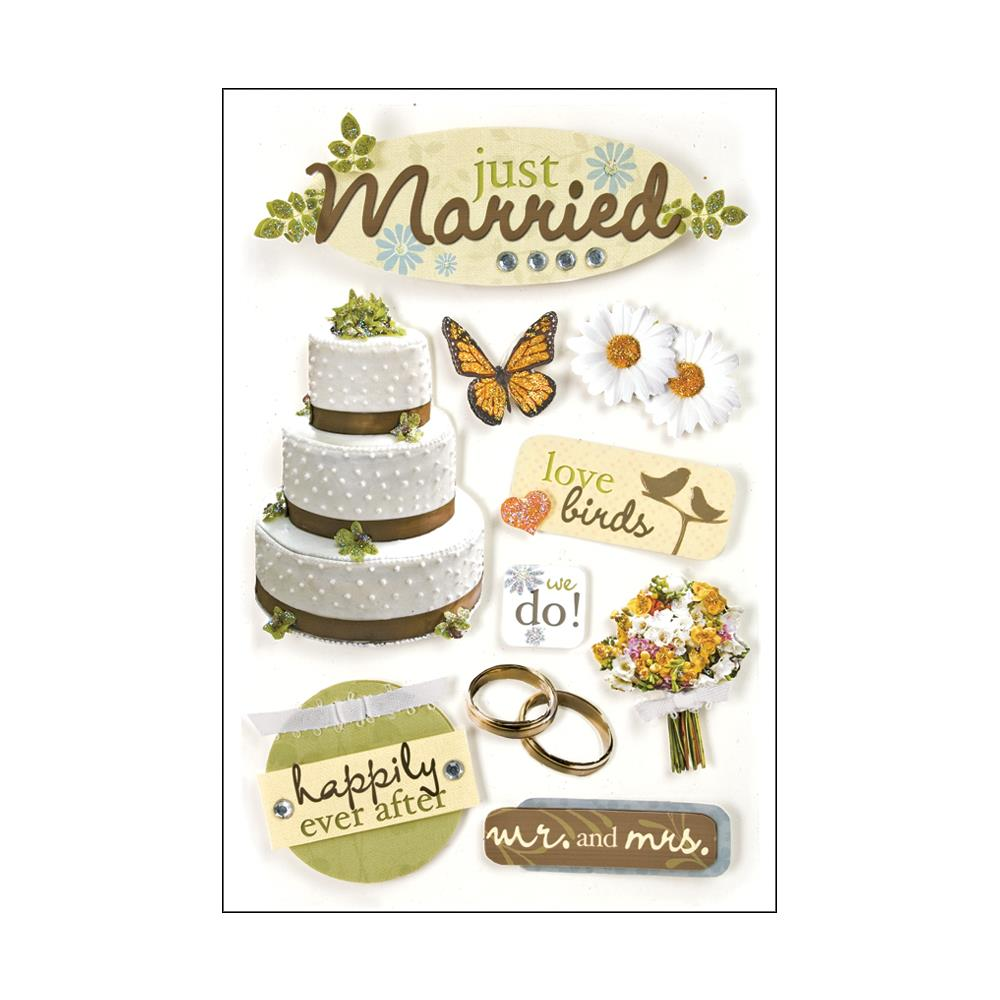 PAPER HOUSE 3D STICKER EMBELLISHMENTS JUST MARRIED (HAS TO BE ORDERED)