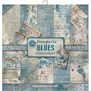 "STAMPERIA 12""X12"" PAPER PACK ""BLUES"" (HAS TO BE ORDERED)"