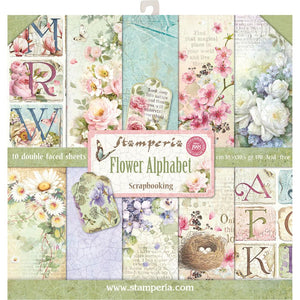 "STAMPERIA 12""X12"" PAPER PACK ""FLOWER ALPHABET"" (HAS TO ORDERED)"