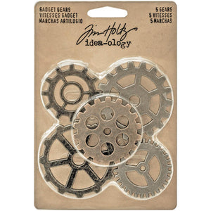 TIM HOLTZ IDEA-OLOGY METAL ANTIQUE NICKLE, COPPER, BRASS GADGET GEARS 5 PIECES (HAS TO BE ORDERED)