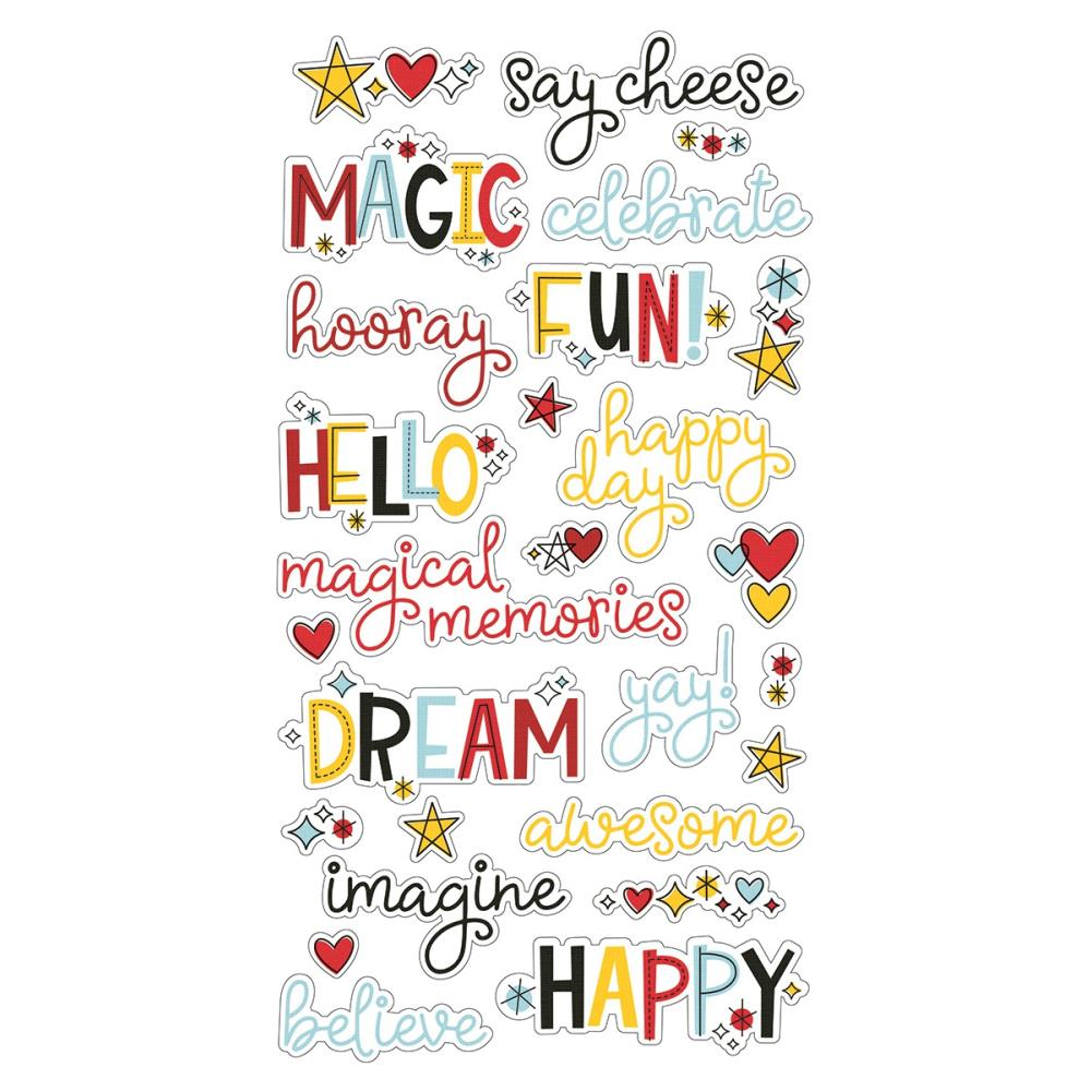 SIMPLE STORIES SAY CHEESE 4 CHIPBOARD WORD STICKERS (HAS TO BE ORDERED)