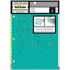 AMERICAN CRAFTS VICKI BOUTIN MIXED MEDIA 3 PACK STENCILS KALIEDOSCOPE (HAS TO BE ORDERED)
