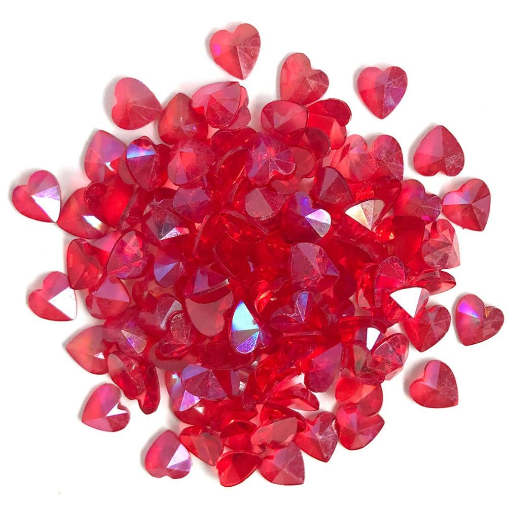 BUTTONS GALORE SPARKLETZ EMBELLISHMENTS RED HEARTS (HAS TO BE ORDERED)