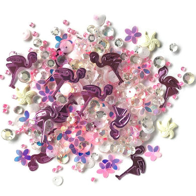 BUTTONS GALORE SPARKLETZ EMBELLISHMENTS PINK FLAMINGO (IN STOCK)