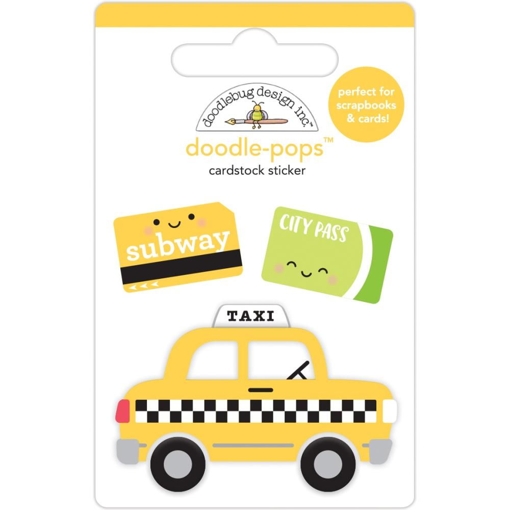 DOODLEBUG DESIGNS I HEART TRAVEL EMBELLISHMENTS DOODLE POP STICKERS TAXI (IN STOCK)