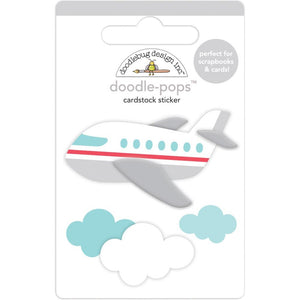 DOODLEBUG DESIGNS I HEART TRAVEL EMBELLISHMENTS DOODLE POP STICKERS PLANE (IN STOCK)