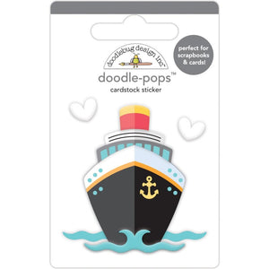 DOODLEBUG DESIGNS I HEART TRAVEL EMBELLISHMENTS DOODLE POP STICKERS CRUISE SHIP (IN STOCK)