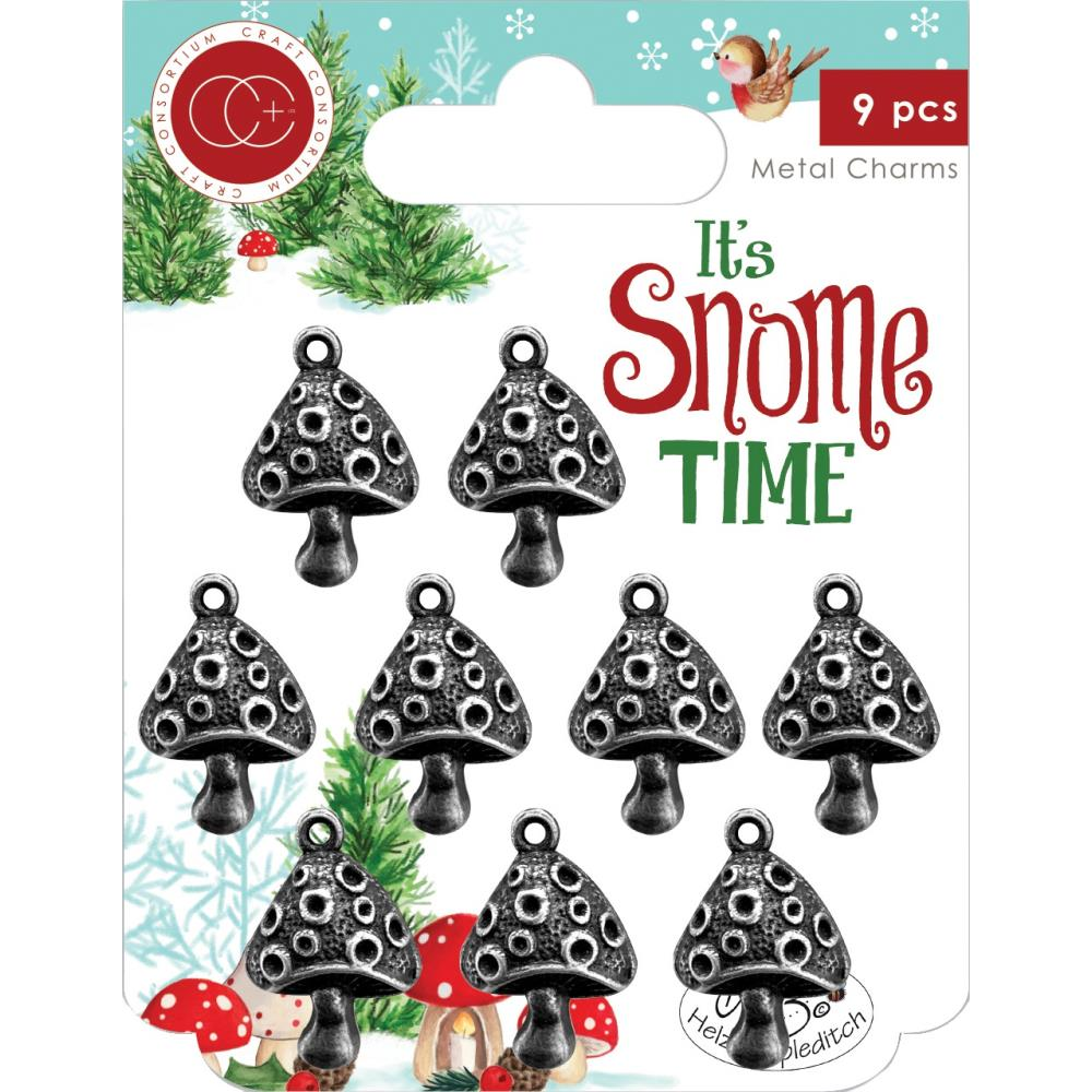 CRAFT CONSORTIUM IT'S SNOME TIME METAL CHARM EMBELLISHMENTS TOAD STOOLS (IN STOCK)