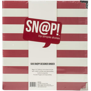 "SIMPLE STORIES 6""X8"" SN@P BINDER RED STRIPE (HAS TO BE ORDERED)"
