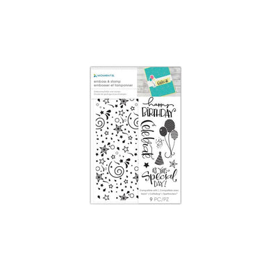 MOMENTA EMBOSSING FOLDER & STAMPS HAPPY BIRTHDAY (IN STOCK)