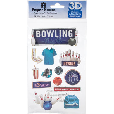 PAPER HOUSE 3D STICKER EMBELLISHMENTS BOWLING NIGHT (HAS TO BE ORDERED)