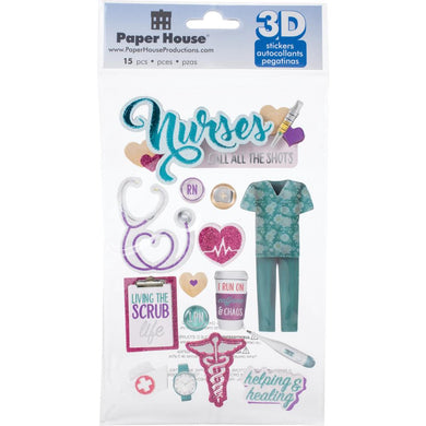 PAPER HOUSE 3D STICKER EMBELLISHMENTS NURSES (HAS TO BE ORDERED)
