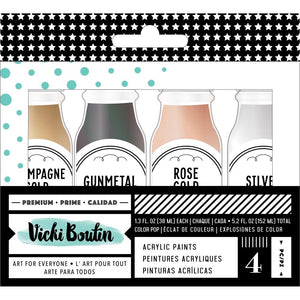 AMERICAN CRAFTS VICKI BOUTIN MIXED MEDIA ACRYLIC PAINT SET METALLICS (HAS TO BE ORDERED)