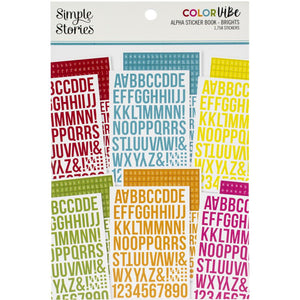 SIMPLE STORIES COLOR VIBE STICKERS ALPHABETS 12 SHEETS BRIGHTS (HAS TO BE ORDERED)