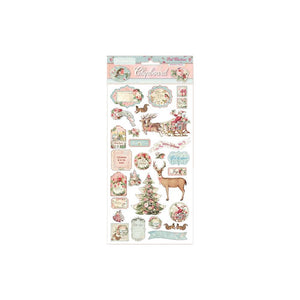 STAMPERIA PINK CHRISTMAS ADHESIVE CHIPBOARD (IN STOCK)