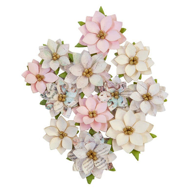 PRIMA SUGAR COOKIE MULBERRY PAPER FLOWERS GLITTERY SNOW (IN STOCK)