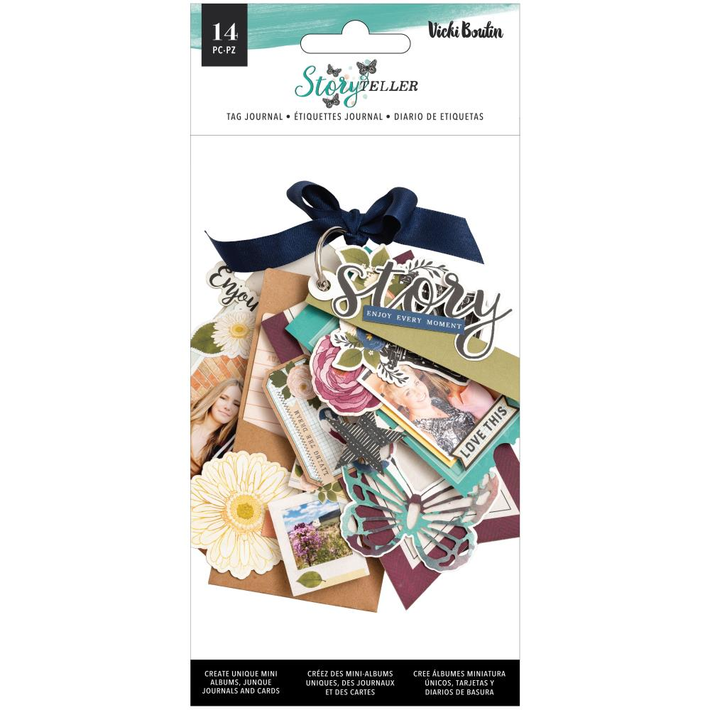 AMERICAN CRAFTS VICKI BOUTIN STORYTELLER TAG JOURNAL WITH IRIDESCENT GLITTER ACCENTS (IN STOCK)