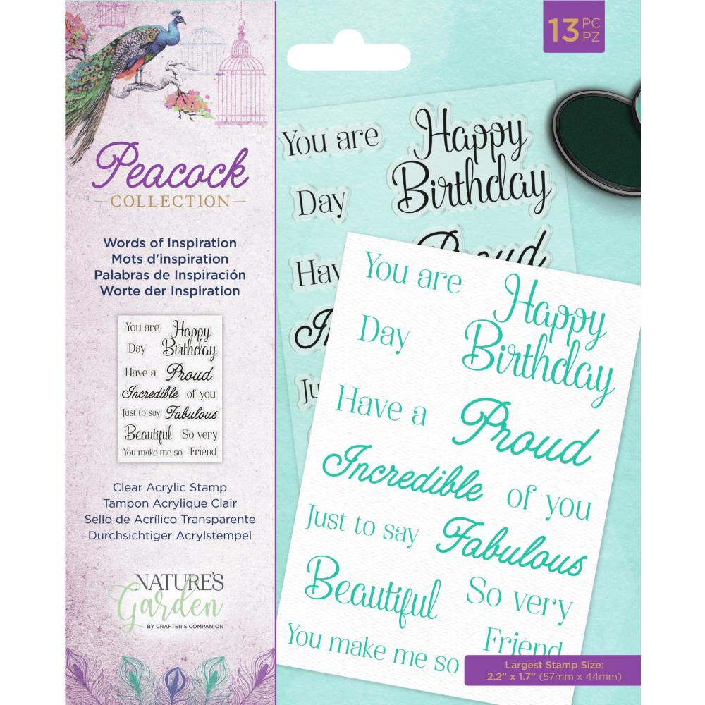 CRAFTER'S COMPANION NATURE'S GARDEN PEACOCK CLEAR STAMPS WORDS OF INSPIRATION (IN STOCK