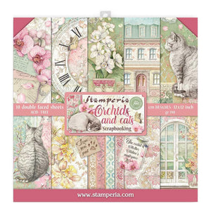 "STAMPERIA 12""X12"" PAPER PACK ""ORCHIDS & CATS"" (IN STOCK)"