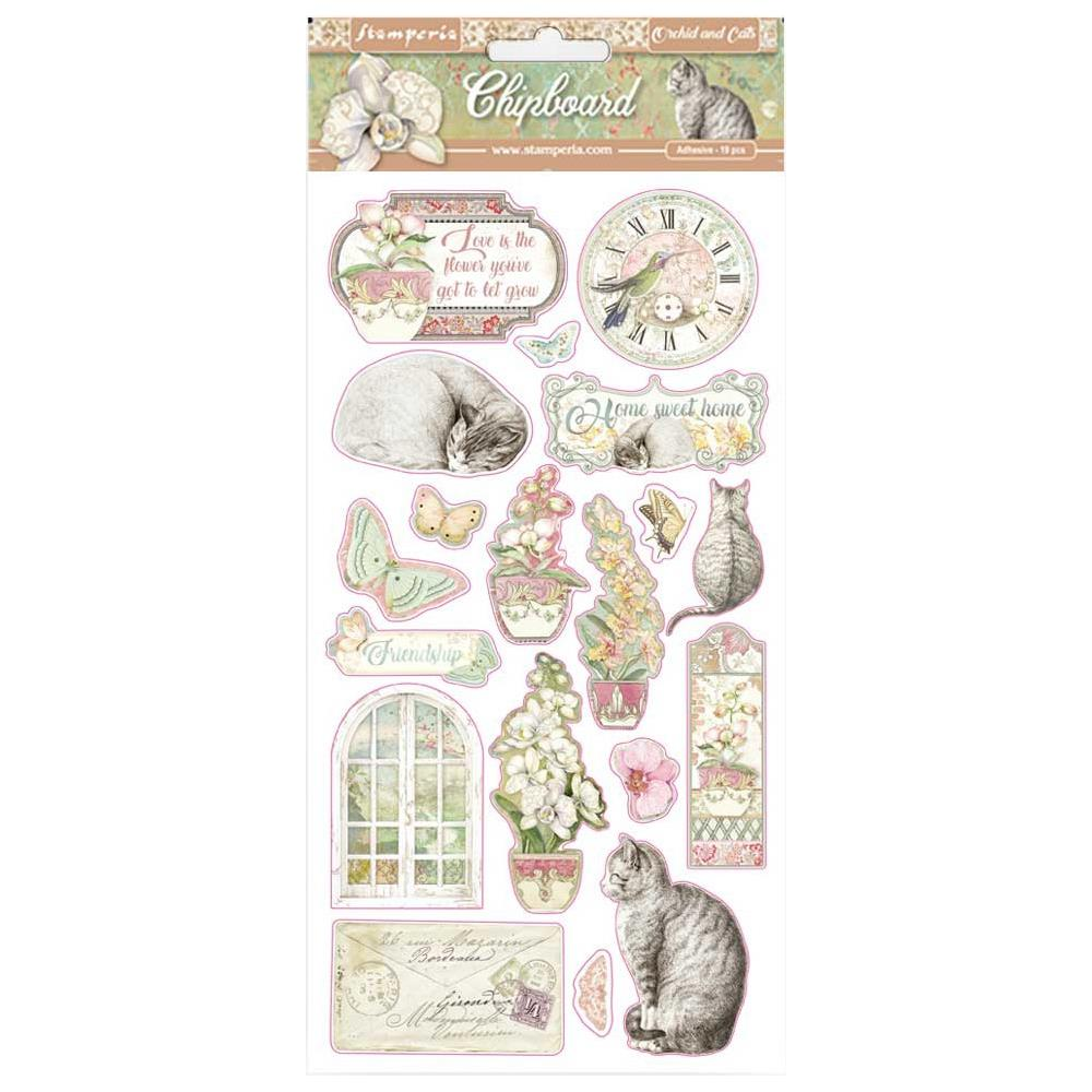 STAMPERIA ORCHIDS & CATS ADHESIVE CHIPBOARD (PRE-ORDER)