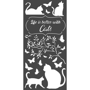 "STAMPERIA ORCHIDS & CATS ""LIFE IS BETTER WITH CATS"" 4.72""X9.84"" STENCIL (PRE-ORDER)"