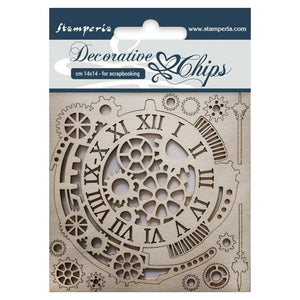 "STAMPERIA DECORATIVE CHIPS CHIPBOARD 5.5""X5.5"" GEARS & CLOCKS (IN STOCK)"