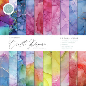 "CRAFT CONSORTIUM 12""X12"" PAPER PAD INK DROPS- VIVID (IN STOCK)"