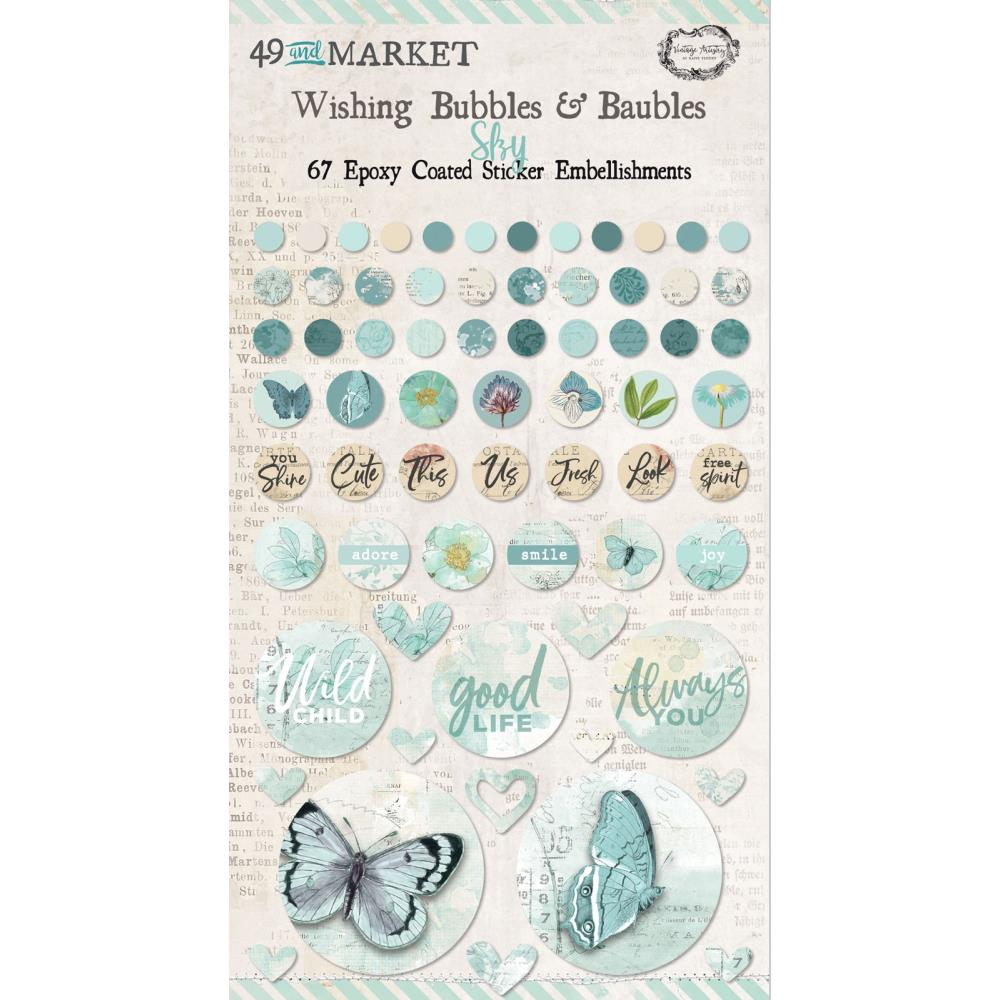 49 & MARKET EMBELLISHMENTS EPOXY COATED WISHING BUBBLES & BAUBLES