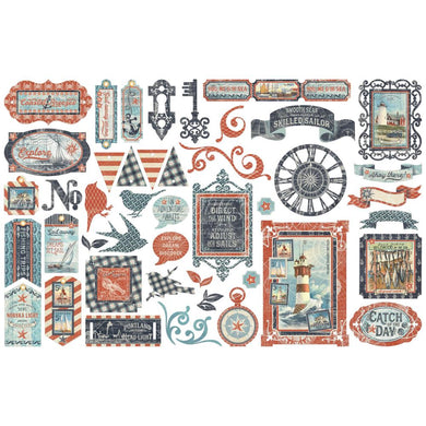 GRAPHIC 45 CATCH OF THE DAY EPHEMERA DIE CUT PACK (IN STOCK)