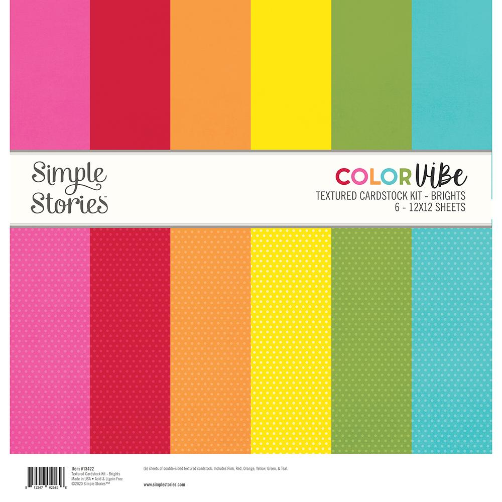 SIMPLE STORIES COLOR VIBE BASICS DOUBLE-SIDED PAPER PACK 12