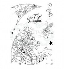 Load image into Gallery viewer, CREATIVE EXPRESSIONS CLEAR STAMPS A5 PINK INK DESIGNS DRAGON (HAS TO BE ORDERED)