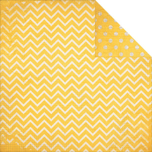 "BO BUNNY (1) SHEET DOUBLE DOT CHEVRON 12""X12"" CARDSTOCK BUTTERCUP (IN STOCK)"