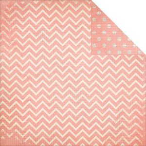 "BO BUNNY (1) SHEET DOUBLE DOT CHEVRON 12""X12"" CARDSTOCK CORAL (IN STOCK)"