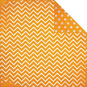"BO BUNNY (1) SHEET DOUBLE DOT CHEVRON 12""X12"" CARDSTOCK ORANGE CITRUS (IN STOCK)"