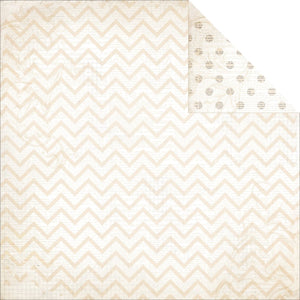 "BO BUNNY (1) SHEET DOUBLE DOT CHEVRON 12""X12"" CARDSTOCK SUGAR (IN STOCK)"