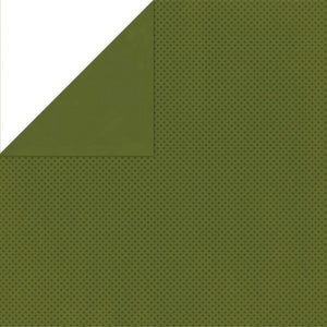 "BO BUNNY (1) SHEET DOUBLE DOT 12""X12"" CARDSTOCK OLIVE (IN STOCK)"