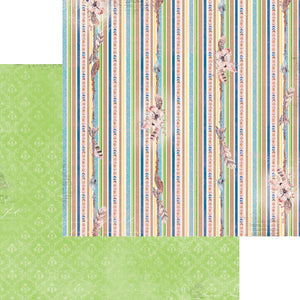 "BO BUNNY SERENDIPITY (1) DOUBLE SIDED 12""X12"" PAPER ""STRIPE"" (CLEARANCE)"