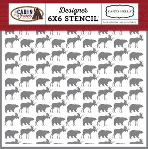 CARTA BELLA STENCIL CABIN MOOSE & BEAR (CLEARANCE)