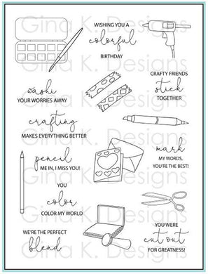 DIRECT BUY GINA K DESIGNS LARGE STAMP SET CRAFTY NOTES (IN STOCK)