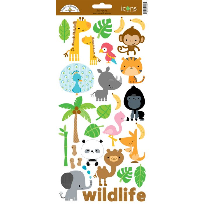 DOODLEBUG AT THE ZOO CARDSTOCK STICKER EMBELLISHMENTS ICONS (IN STOCK)