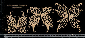 "DIRECT BUY SCRAPAHOLICS CHIPBOARD EMBELLISHMENT  ""FAIRY WINGS"" (HAS TO BE ORDERED)"