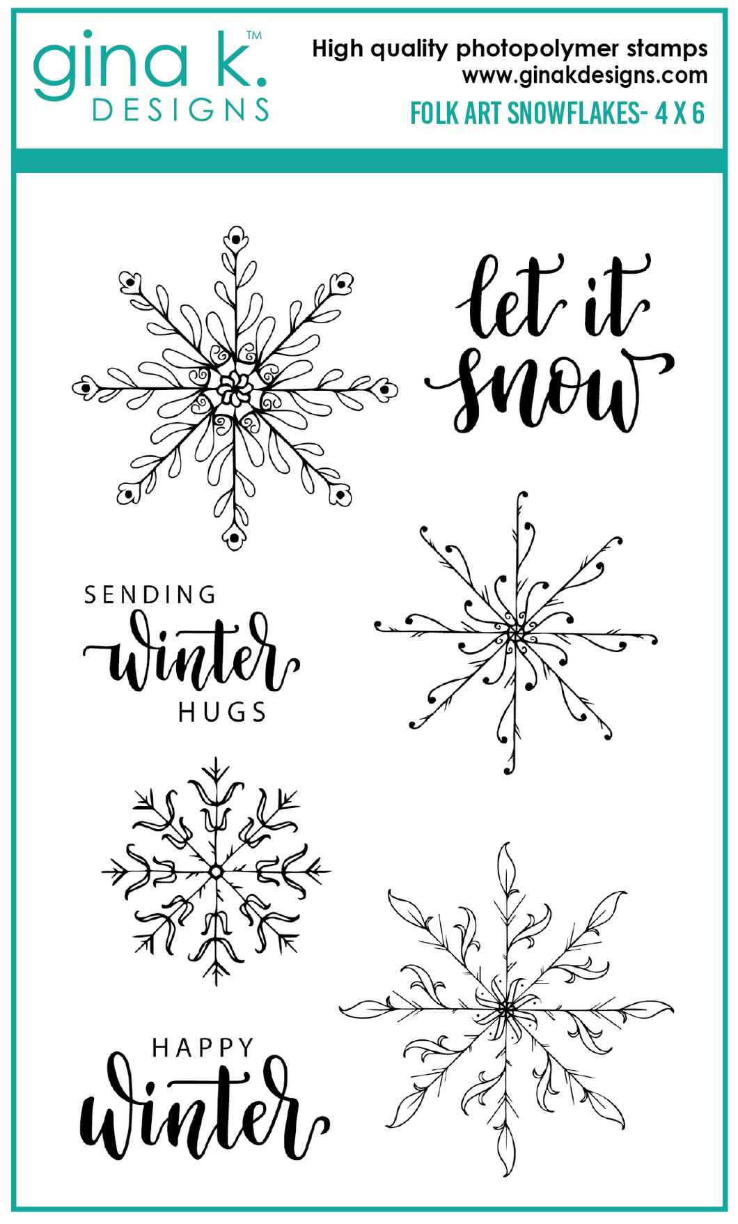 DIRECT BUY GINA K DESIGNS MEDIUM STAMP SET FOLK ART SNOWFLAKES (HAS TO BE ORDERED)