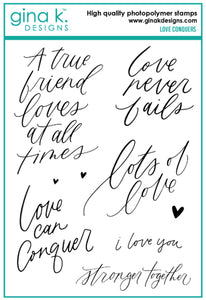 DIRECT BUY GINA K DESIGNS LARGE STAMP SET LOVE CONQUERS (HAS TO BE ORDERED)