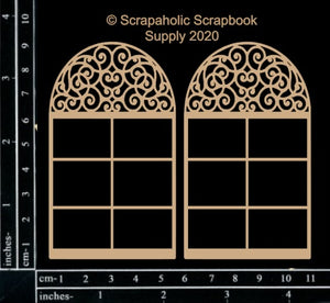 "DIRECT BUY SCRAPAHOLICS CHIPBOARD EMBELLISHMENT  ""MINI ARCH WINDOWS #1"" (HAS TO BE ORDERED)"