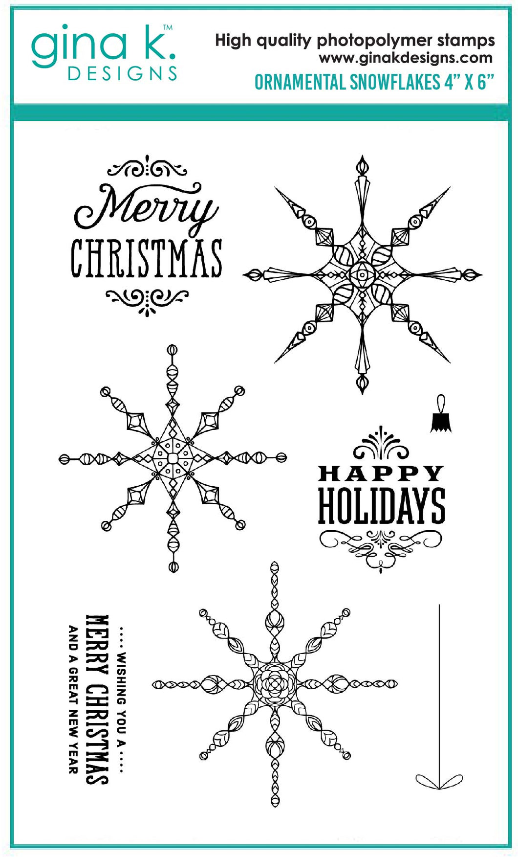 DIRECT BUY GINA K DESIGNS LARGE STAMP SET ORNAMENTAL SNOWFLAKES (HAS TO BE ORDERED)